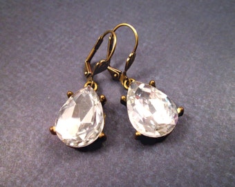 Rhinestone Earrings, White Glass Drop Earrings, Brass Dangle Earrings, FREE Shipping U.S.