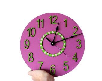 Girl wall clock,, Purple Wall Clock, Nursery Room Decor,Girl Bedroom