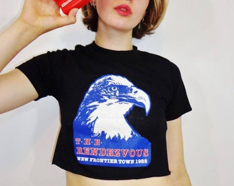80s Vintage Motorcycle Biker Crop Top T-Shirt, Grunge, Rock, Festival Fashion, Cropped Tee, Eagle Print, Street Aesthetic