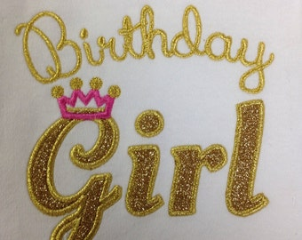 Birthday girl gold glitter crown shirt