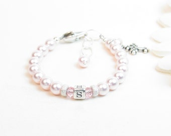 Personalized Newborn Bracelet - Baptism Bracelet - Baby Bracelet - Baby Girl Bracelet - Pink Baby Bracelet - Infant Bracelet - Christening