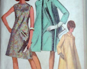 Vintage 60's Simplicity 6977 Sewing Pattern, Misses One-Piece Dress And Tent Coat, Size 12, 32 Bust, Retro Mod 1960's