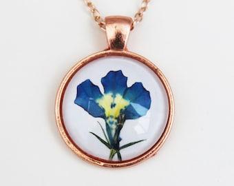 Rose gold blue flower necklace