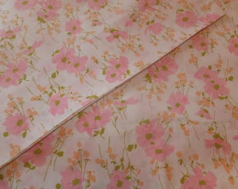 Pair Vintage Cottage Chic Morgan Jones Pink Floral Wildflowers No Iron Percale Pillowcases