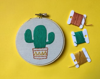 Cactus - Bright Potted Cactus Embroidery Art in 4 Inch Hoop - Cacti - Southwestern Decor - Wall Hanging - Wall Art