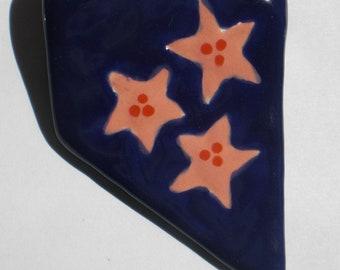 Cobalt Blue Earthenware Starflower Pendant