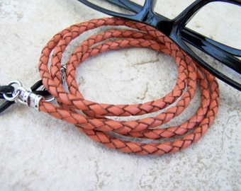 Unisex Orange Leather, Chain for Glasses, Readers Eyeglass Cord, Eyeglass Necklace, by Eyewearglamour
