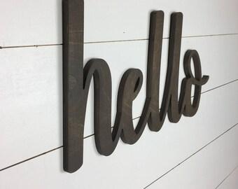 Hello Sign, Hello Wooden Cutout, Hello Word Cutout, Gallery Wall Decor