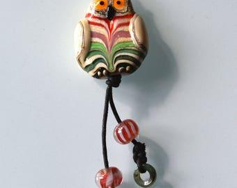 Owl Lampwork beads, Focal bead, Artist bead Kokopella design