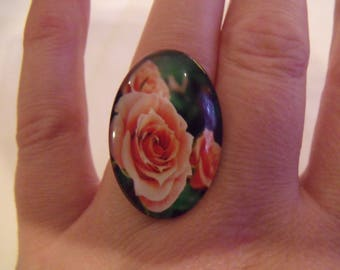 SALE coral salmon pink oval glass cabochon ring