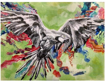 Parrot (24 x 18 original acrylic painting on canvas board)