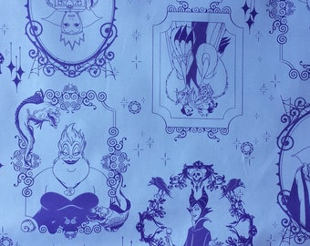 Disney Villains Frames Light Purple Cotton Fabric Yardage Ursula Maleficent Cruella de Ville Evil Queen