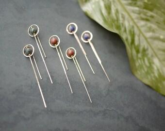 Modern Minimal Gold Fill Circle/Stone Stick Earrings