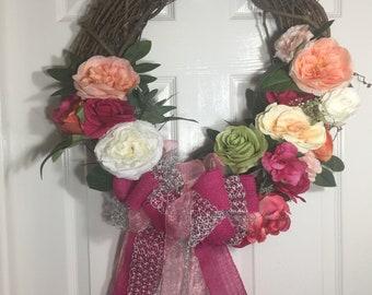 Rose Wreath, Grapevine Wreath, Summer Wreath, Front Door Wreath