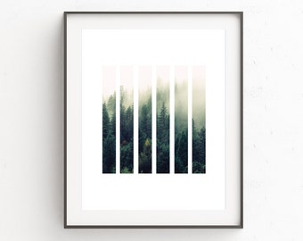 Printable Forest Art, Forest Print Art, Foggy Forest, Forest Photography, Printable Art, Wall Decor, Scandinavian Print, Gift For Him, Green