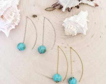 Turquoise acrylic marble ball threaded earrings /Gift / Birthday gift