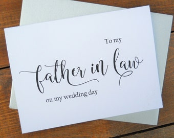 TO My FATHER in LAW on my Wedding Day Card, Shimmer Envelope,To My Father In Law Card, Father in Law Card, Father in Law Gift