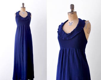 1970 dress. halter maxi. 70's navy blue dress. knit. ruffled. small.