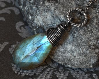 """Labradorite Necklace, Oxidized Sterling Silver - """"Sea Gem"""" by CircesHouse on Etsy"""