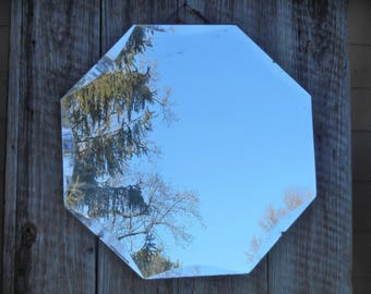 Vintage Mirror Scalloped Beveled Edge Frameless Art Deco Geometric Design Accent Wall Mirror Large Statement Mirror 8 Sided Octagon