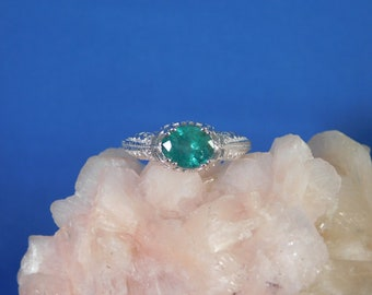1.28 ct. Oval Columbian Emerald Ring 1920's Filigree Style Sterling Silver