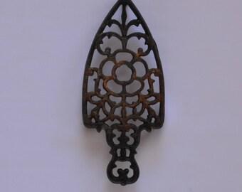 Antique Cast Iron Floral Pattern Sad Iron Trivet