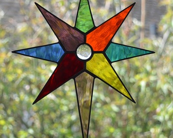 Multi Colour 8 point Star - Stained Glass Suncatcher