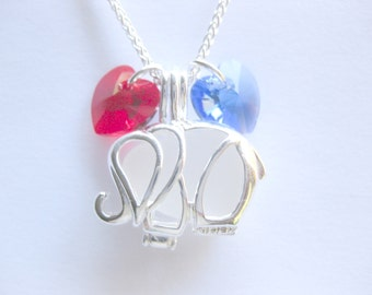 Sea glass necklace  seaglass jewelry republican convention  elephant  july 4 jewelry