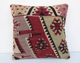 Kilim pillow cover,home decor pillow,kilim cushion,turkish pillow,16x16 pillow