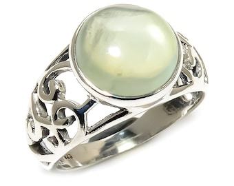 Natural Prehnite Round Gemstone Ring 925 Sterling Silver R1131