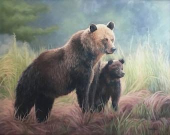 Grizzly bear - Bear painting - Bear - wildlife art - Bear art - brown bear - Open edition print