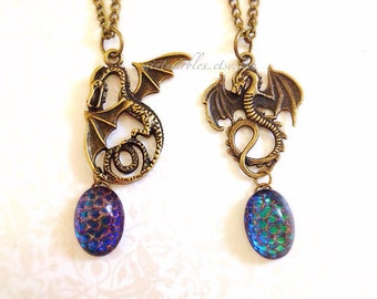 Dragon & Egg Necklace. Brass. Vintage Style. Iridescent. Antique Gold. Mystical. Magic. Fantasy. Under 30. Vintage Style. Blue. Gift