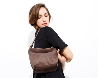 SALE Small leather bag - Leather crossbody - Small leather handbag with clip on crossobody strap - Mini Shiri bag in Umber color