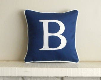 Navy blue monogram pillow, personalized pillow, Blue initial pillow, pillow with letter, wedding gift, personalized pillow case