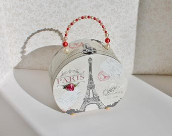 Footed Paris Purse with beaded handle and fabric flower accent