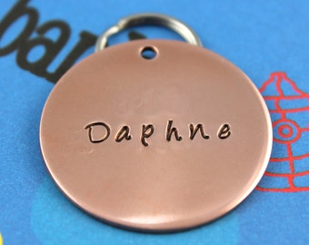LARGE Dog Tag - Personalized Copper Pet Tag - Custom Pet ID Tag - Handstamped - Other Metals Available
