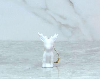 Vintage White Porcelain Reindeer Ornament, 1980s, Christmas Tree,  Christmas Reindeer, Porcelain Ornament, White Reindeer, Reindeer Ornament