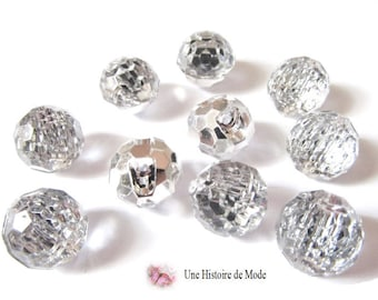 10 balls effect crisral - synthetic - faceted - 12 mm buttons
