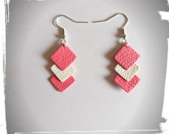 Square leather earrings