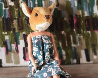 Deer animal head art doll