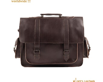 17 inch LAPTOP BAG from 100% Full Grain Leather in Dark Brown Color