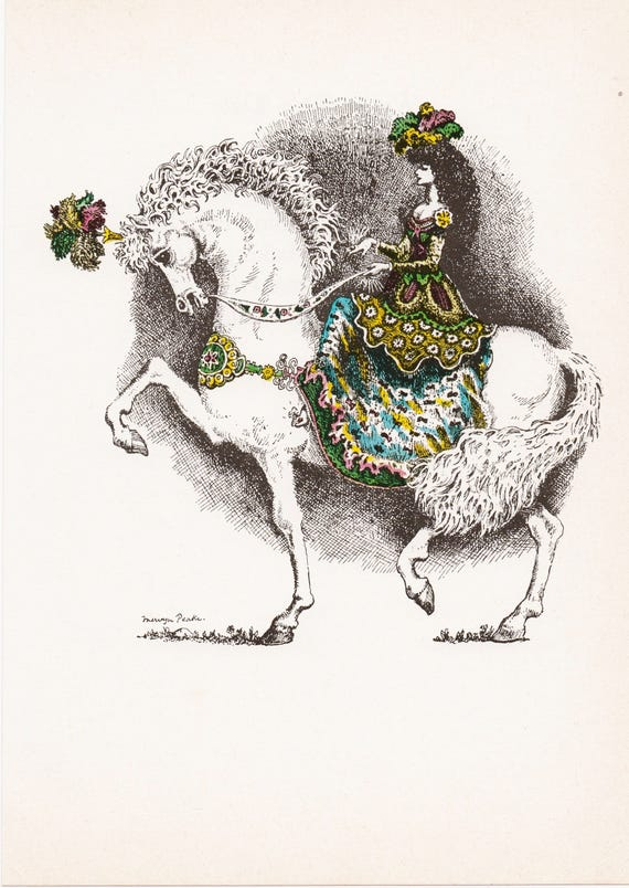"""Illustration of nursery rhyme """"Ride a Cock-Horse"""", by Mervyn Peake, woman on magnificent horse, 1975 book illustration, 9.75 x 7 inches"""