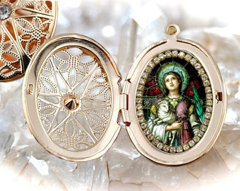Saint Agnes Handmade Locket Necklace Catholic Christian Religious Jewelry Medal Pendant