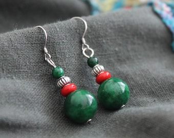 Ethnic inspired handmade green beads earrings with silver ear wires Boho Hippie Gypsy Festival earrings Bohemian jewellery Gift for her
