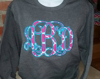 Hot pink turq guaterfoil fabric. Monogrammed tee