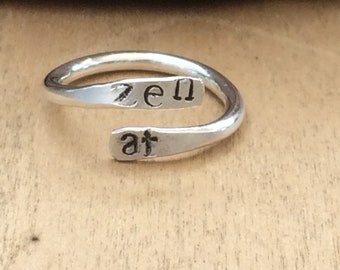 Zen AF Hand-Stamped Sterling Silver Statement Ring