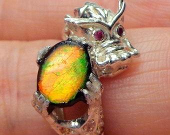 Rare Gem,Ammolite,Dragon Ring,Multi Colored Stone,Golden Green,Red,Petrified Stone,Natural Gemstone,Gemstone Jewelry,Collectors Stone,OOAK