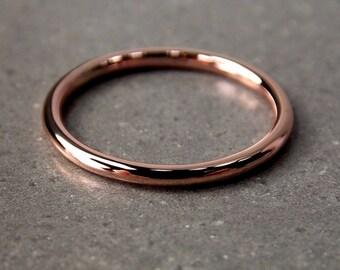 14K Rose Gold Ring, Medium Rose Gold Stacking Ring, Full-Round Stacking Ring, Solid 14K Rose Gold Ring, Made to Order