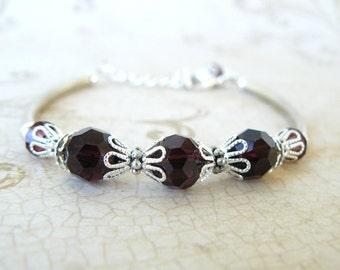 Dark Amethyst Beaded Bracelet, Plum Crystal Bracelet, Vintage Style Jewelry, Eggplant Bangle Style Bracelet