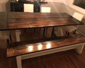 Rustic Pedestal Farmhouse Dining table and bench
